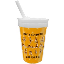Yoga Dogs Sun Salutations Sippy Cup with Straw (Personalized)