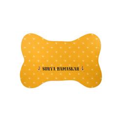 Yoga Dogs Sun Salutations Bone Shaped Dog Food Mat (Small) (Personalized)