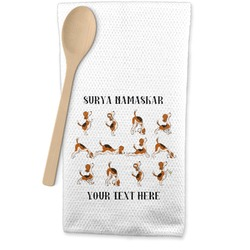 Yoga Dogs Sun Salutations Waffle Weave Kitchen Towel (Personalized)