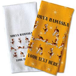 Yoga Dogs Sun Salutations Waffle Weave Kitchen Towel (Personalized)