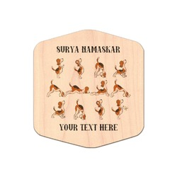 Yoga Dogs Sun Salutations Genuine Wood Sticker (Personalized)