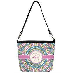 Bohemian Art Bucket Bag w/ Genuine Leather Trim (Personalized)