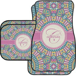 Bohemian Art Car Floor Mats Set - 2 Front & 2 Back (Personalized)