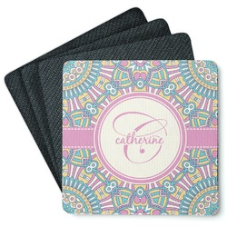 Bohemian Art 4 Square Coasters - Rubber Backed (Personalized)