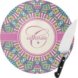Bohemian Art Round Glass Cutting Board (Personalized)