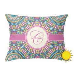Bohemian Art Outdoor Throw Pillow (Rectangular) (Personalized)