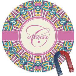 Bohemian Art Round Fridge Magnet (Personalized)