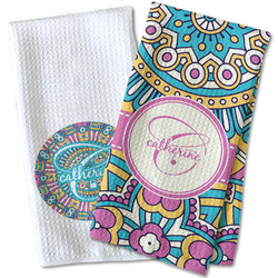Bohemian Art Waffle Weave Kitchen Towel (Personalized)