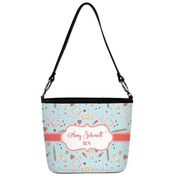 Nurse Bucket Bag w/ Genuine Leather Trim (Personalized)