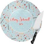Nurse Round Glass Cutting Board (Personalized)