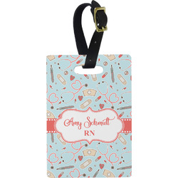 Nurse Plastic Luggage Tag - Rectangular w/ Name or Text