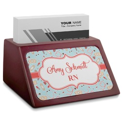 Nurse Red Mahogany Business Card Holder (Personalized)