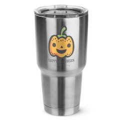Halloween Pumpkin 30 oz Silver Stainless Steel Tumbler w/Full Color Graphics (Personalized)