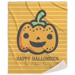 Halloween Pumpkin Sherpa Throw Blanket (Personalized)