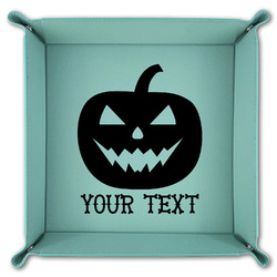 Halloween Pumpkin Teal Faux Leather Valet Tray (Personalized)