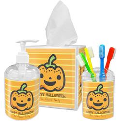 Halloween Pumpkin Acrylic Bathroom Accessories Set w/ Name or Text