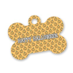 Halloween Pumpkin Bone Shaped Dog Tag (Personalized)