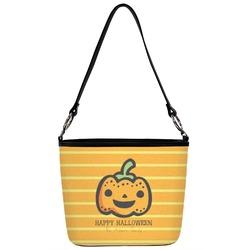 Halloween Pumpkin Bucket Bag w/ Genuine Leather Trim (Personalized)