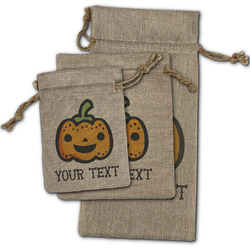 Halloween Pumpkin Burlap Gift Bags (Personalized)