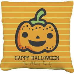 Halloween Pumpkin Faux-Linen Throw Pillow (Personalized)