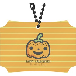 Halloween Pumpkin Rear View Mirror Ornament (Personalized)