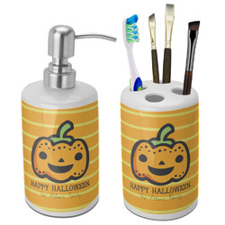 Halloween Pumpkin Bathroom Accessories Set (Ceramic) (Personalized)
