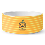 Halloween Pumpkin Ceramic Pet Bowl (Personalized)
