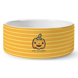 Halloween Pumpkin Ceramic Pet Bowl (Personalized)