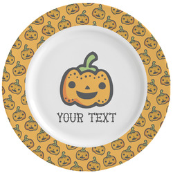 Halloween Pumpkin Ceramic Dinner Plates (Set of 4) (Personalized)