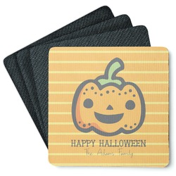 Halloween Pumpkin 4 Square Coasters - Rubber Backed (Personalized)