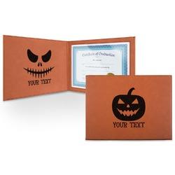 Halloween Pumpkin Leatherette Certificate Holder (Personalized)