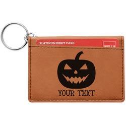 Halloween Pumpkin Leatherette Keychain ID Holder (Personalized)