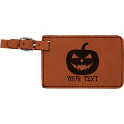 Halloween Pumpkin Leatherette Luggage Tag (Personalized)