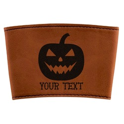 Halloween Pumpkin Leatherette Cup Sleeve (Personalized)