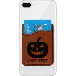 Halloween Pumpkin Leatherette Phone Wallet (Personalized)