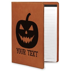 Halloween Pumpkin Leatherette Portfolio with Notepad (Personalized)