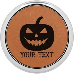 Halloween Pumpkin Leatherette Round Coaster w/ Silver Edge - Single or Set (Personalized)