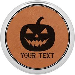 Halloween Pumpkin Leatherette Round Coaster w/ Silver Edge - Single or Set (Personalized)
