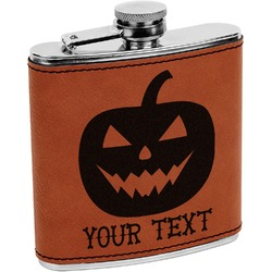 Halloween Pumpkin Leatherette Wrapped Stainless Steel Flask (Personalized)