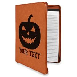 Halloween Pumpkin Leatherette Zipper Portfolio with Notepad (Personalized)