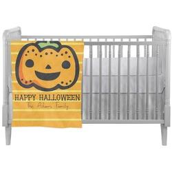 Halloween Pumpkin Crib Comforter / Quilt (Personalized)