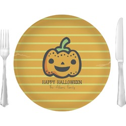 """Halloween Pumpkin 10"""" Glass Lunch / Dinner Plates - Single or Set (Personalized)"""