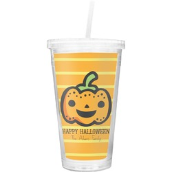 Halloween Pumpkin Double Wall Tumbler with Straw (Personalized)