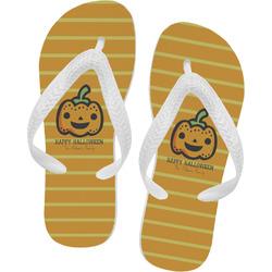 Halloween Pumpkin Flip Flops - XSmall (Personalized)