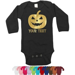 Halloween Pumpkin Bodysuit w/Foil - Long Sleeves (Personalized)