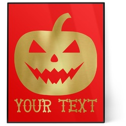 Halloween Pumpkin 8x10 Foil Wall Art - Red (Personalized)