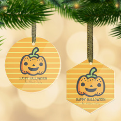 Halloween Pumpkin Flat Glass Ornament w/ Name or Text