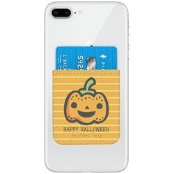 Halloween Pumpkin Genuine Leather Adhesive Phone Wallet (Personalized)
