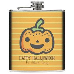 Halloween Pumpkin Genuine Leather Flask (Personalized)