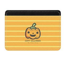 Halloween Pumpkin Genuine Leather Front Pocket Wallet (Personalized)